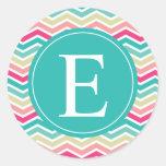 Pink Turquoise Chevron Monogram Round Sticker
