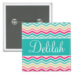 Pink Turquoise Chevron Name 2 Inch Square Button