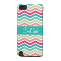 Pink Turquoise Chevron Name iPod Touch (5th Generation) Cover
