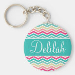 Pink Turquoise Chevron Name Keychain