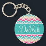 "Pink Turquoise Chevron Name Keychain<br><div class=""desc"">Customise this vibrant pink,  aqua and turquoise zig zag chevron pattern name banner with the text of your choice.</div>"