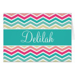 Pink Turquoise Chevron Name Stationery Note Card