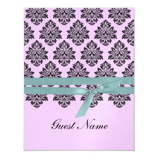 "Pink & turquoise Damask Seating Card 4.25"" X 5.5"" Invitation Card"