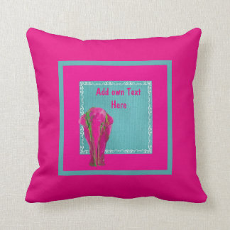 Pink Turquoise Elephant Home Decor Throw Pillow