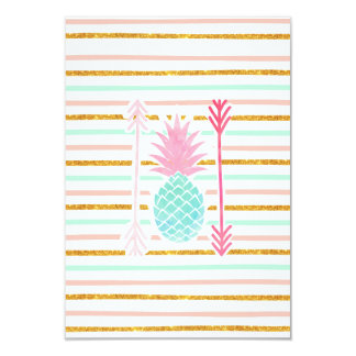 Pink Turquoise Exotic Pineapple Stripes Arrows Card