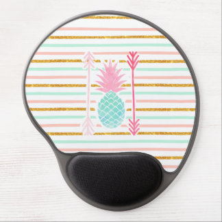Pink Turquoise Exotic Pineapple Stripes Arrows Gel Mouse Pad