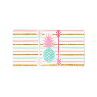 Pink Turquoise Exotic Pineapple Stripes Arrows Label