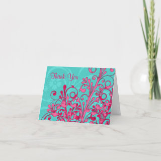 Pink Turquoise Floral Wedding Thank You Card