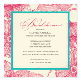 PINK + TURQUOISE FLOWERS | BRIDAL SHOWER INVITE