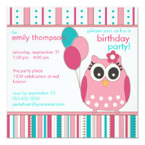 Pink Turquoise Girly Owl Birthday Party Invitation