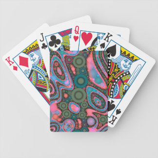 Pink Turquoise Green Trippy Abstract Bicycle Playing Cards