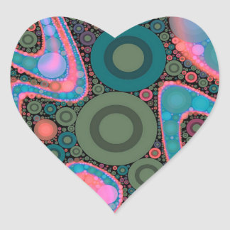 Pink Turquoise Green Trippy Abstract Heart Sticker