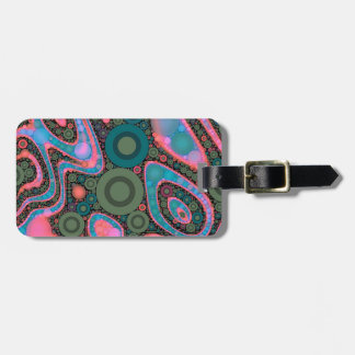 Pink Turquoise Green Trippy Abstract Luggage Tag