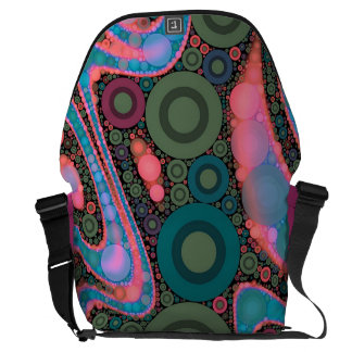Pink Turquoise Green Trippy Abstract Messenger Bag