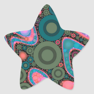 Pink Turquoise Green Trippy Abstract Star Sticker