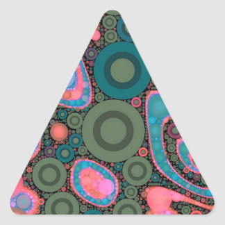 Pink Turquoise Green Trippy Abstract Triangle Sticker