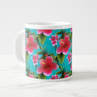 Pink Turquoise Hawaiian Hibiscus Flowers Pattern Large Coffee Mug