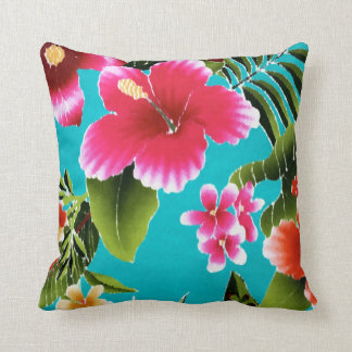 Pink Turquoise Hawaiian Hibiscus Flowers Pattern Throw Pillow