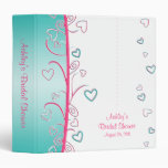 Pink Turquoise Hearts and Scrolls Binder