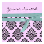 "Pink & turquoise linen Twin baby shower invite 5.25"" Square Invitation Card"