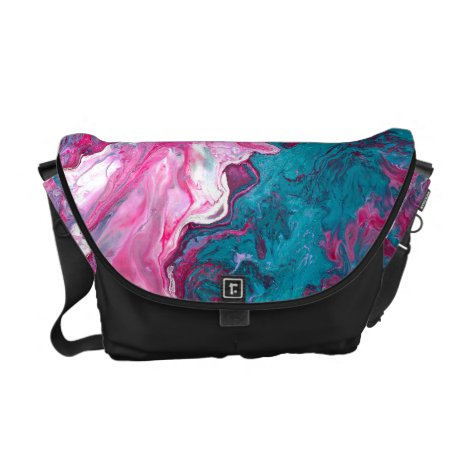 Pink Turquoise Marble Pour Painting Paint Art Courier Bag