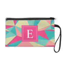 Pink Turquoise Monogram Triangle Pattern Wristlet Purse