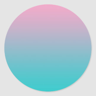 Pink & Turquoise Ombre Classic Round Sticker