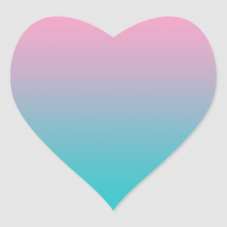 Pink & Turquoise Ombre Heart Sticker