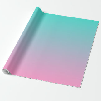 Pink Turquoise Ombre Gift Wrapping Paper