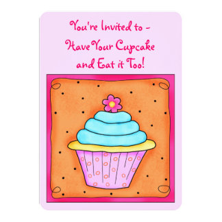 Pink Turquoise Orange Whimsy Cupcake Invitation
