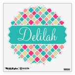 Pink Turquoise Quatrefoil Name Wall Sticker