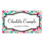 Pink Turquoise Quatrefoil Personal Business Cards