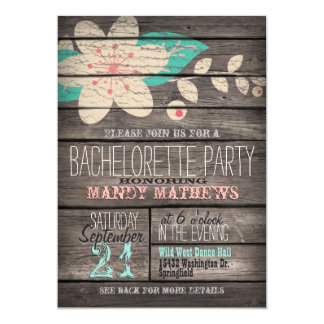 Pink & Turquoise Rustic Wood Bachelorette Party 5x7 Paper Invitation Card