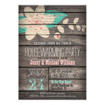 Pink & Turquoise Rustic Wood Housewarming Party 5x7 Paper Invitation Card