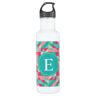 Pink Turquoise Triangle Monogram Water Bottle