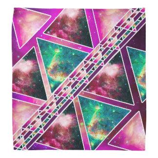 Pink Turquoise Triangles Hip Nebula Galaxy Pattern Bandana