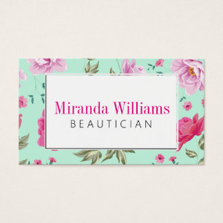 pink turquoise vintage spring floral pattern business card