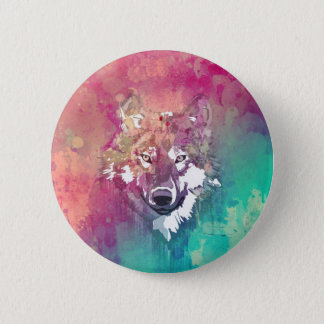 Pink Turquoise Watercolor Artistic Abstract Wolf Button