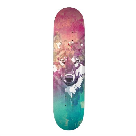 Pink Turquoise Watercolor Artistic Abstract Wolf Skateboard Deck