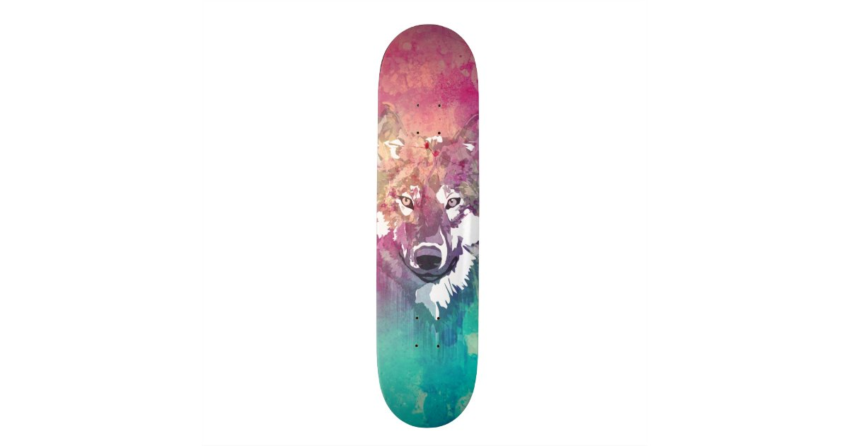 Pink turquoise watercolor artistic abstract wolf for Best paint for skateboard decks