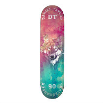 Pink Turquoise Watercolor Artistic Monogram Wolf Skateboard