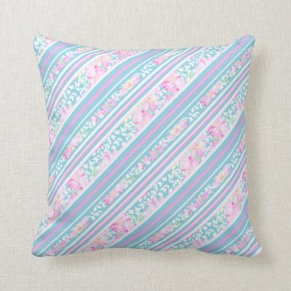 Pink, Turquoise, White Roses and Stripes Pillow