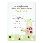 Pink Turtle and Pond Fr og Baby Shower Invitation
