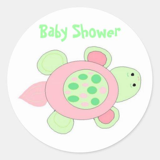 pink turtle baby shower sticker zazzle