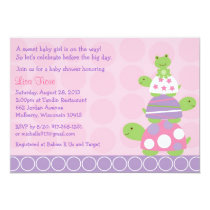 Pink Turtle Frog Baby Shower Invitations