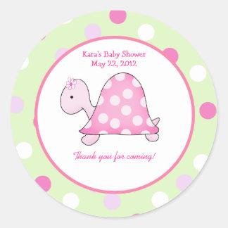 Pink Turtle Green/Pink Dot Custom Favor Sticker