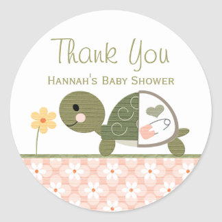 Pink Turtle in Diapers Baby Shower Thank You Classic Round Sticker