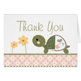 Pink Turtle in Diapers Baby Shower Thank You Note Greeting Cards