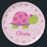 "Pink Turtle Personalized Melamine Plate for Kids<br><div class=""desc"">Make your little one&#39;s mealtime special with a personalized melamine plate! This cute and trendy pink turtle is the perfect addition to any table. These plates are also great for birthday parties,  party favors or birthday gifts.</div>"