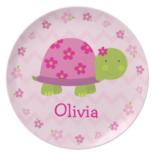 Pink Turtle Personalized Melamine Plate for Kids  sc 1 st  Zazzle : pink melamine plates - pezcame.com